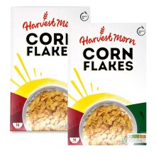 Harvest Morn Corn Flakes Cereal Low in Fat 500g - Pack of 2 (2x500g)
