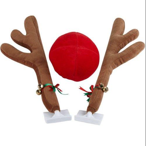 28cm Plush Reindeer Antlers & Nose Set For Cars
