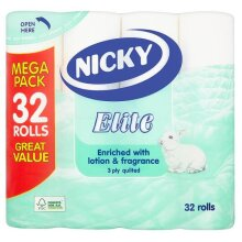 Nicky Elite Luxury 3 Ply Quilted Toilet Tissue With Lotion 32 Rolls Megapack
