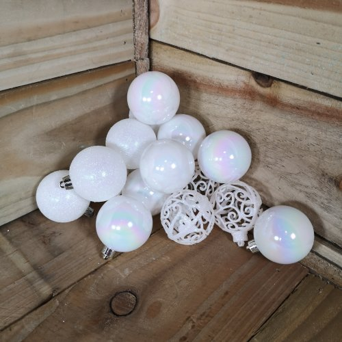 16 x 6cm Christmas White Iridescent Glitter Gloss And Matte Baubles Tree Decorations