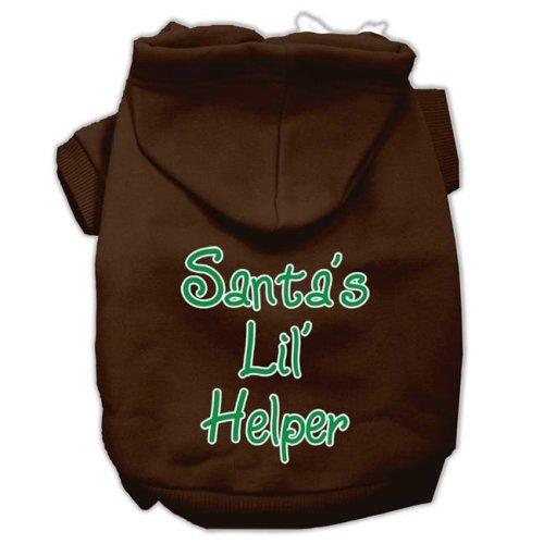 Mirage Pet 62-25-13 LGBR Santas Lil Helper Screen Print Pet Hoodies, Brown - Large