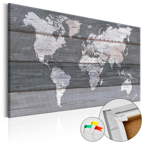 Decorative Pinboard - Grey Earth [Cork Map]