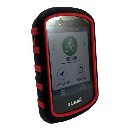 TUFF LUV Silicone Dual Layer Protective Skin Case for Garmin Edge 530 - Blk/Red