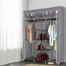 Large Grey Canvas Wardrobe Foldable Clothes Cupboard Storage Organiser
