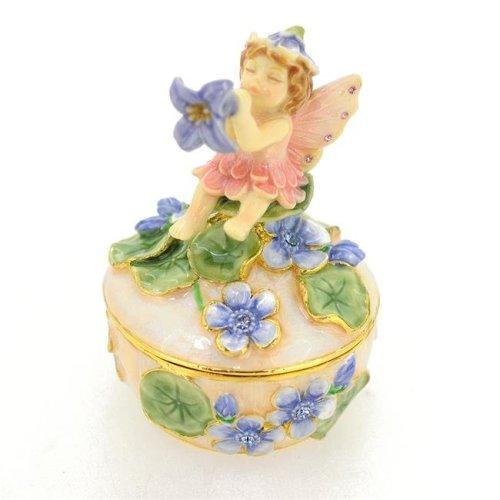 Fantasyard Flower Fairy Trinket Box - Silver - 2.375 x 3.5 in.