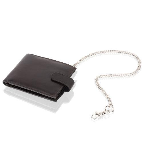 "Woodland Leather Black Chain 4.5"" RFID Multi Pocket Wallet"