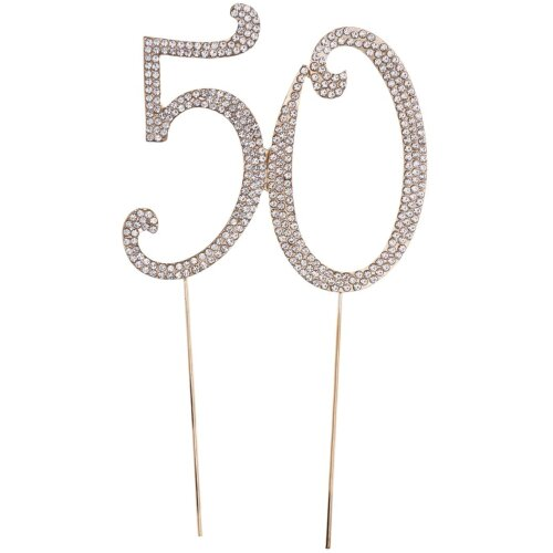 TOYMYTOY 50 Cake Topper for 50th Birthday Party or Anniversary Crystal Rhinestones Decorative Cake Topper for Party Supplies (Gold)