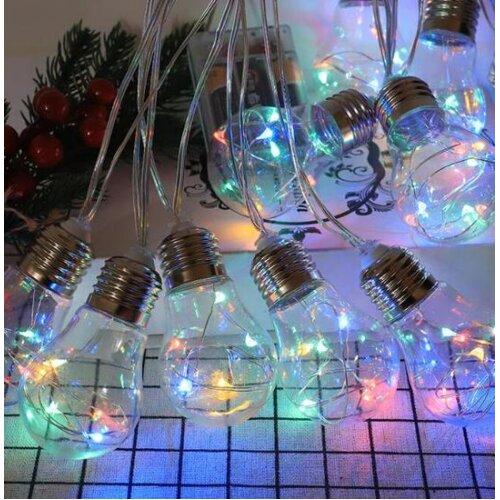 (MULTI-COLOUR) Bulb Light Bulb Solar Copper Wire String Light