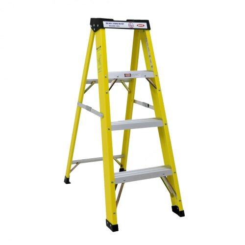Oypla Heavy Duty Electricians Fibreglass Step Ladder 4 Tread EN131 Certified