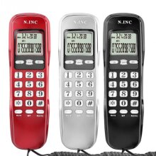 Mini Phone Wall Telephone For Home Office Hotel LCD Display Wired Landline Phone