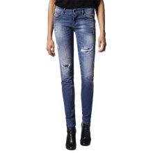 DIESEL GRUPEE 0679C Womens Denim Jeans Super Skinny Fit Blue DNA Faded Zip Italy