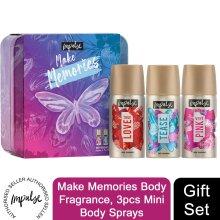 Impulse Make Memories BodyFragrance GiftSet forher,3pcs MiniBodySprays