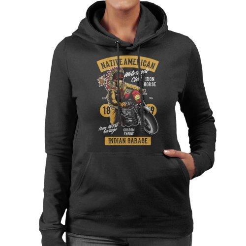 Native American Indian Garage Biker Women's Hooded Sweatshirt