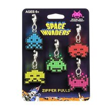 Key Chain - Space Invader - Alien Zipper Pulls Set of 5 New Toys Licensed SIL112