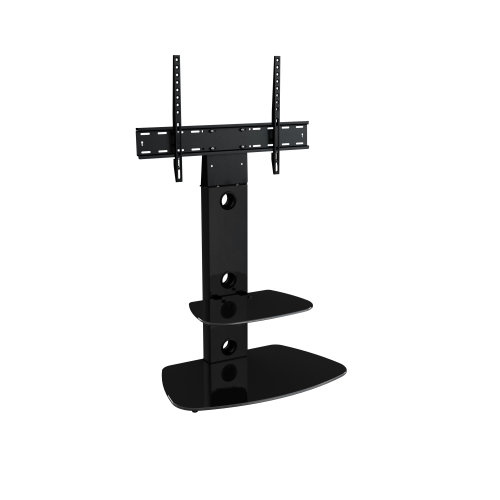 King Cantilever TV Stand with Brackets, Black, Rounded Base, TVs up to 60""