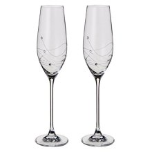 Dartington Crystal - Glitz Champagne Flute Glasses, set of 2 - Gift Boxed