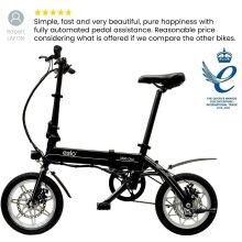 "eelo 1885 PRO 14"" Adults Folding Electric Bike. Portable eBike Easy to Store in Caravan, Motor Home, Boat, Car. UK Assembled. 3 Years Warranty"