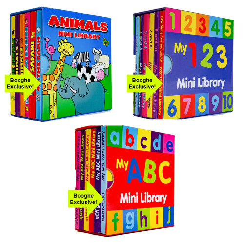 3 Sets of 6 Children Mini Library Board Books (18 Books)