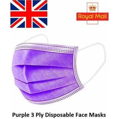 50pc Disposable 3 Layer Adult Face Masks -PURPLE