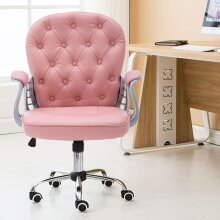 Gas Lift Swivel Study Computer Office Chair, Pink