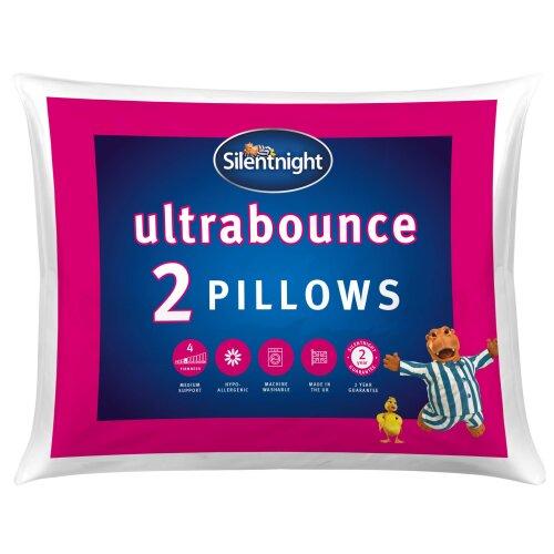 Silentnight Ultrabounce Pillow, White, Pack of 2 Pack of 2 Single