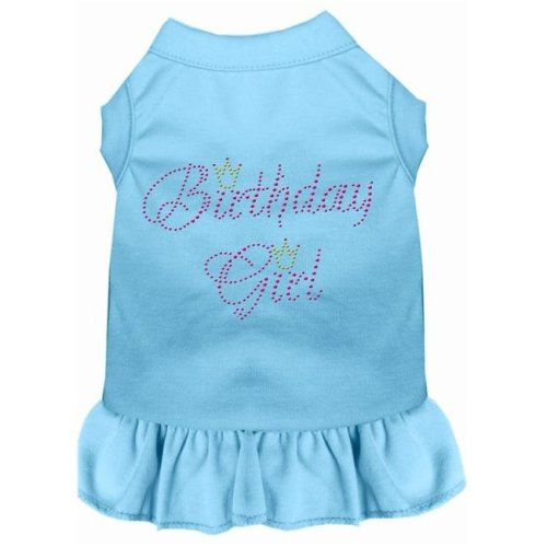 Mirage Pet 57-03 XXXLBBL Birthday Girl Rhinestone Dog Dress, Baby Blue - 3XL