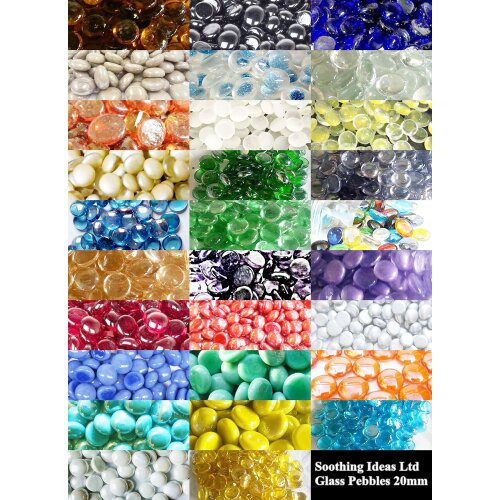 50 Glass Pebbles 20mm Various Colours