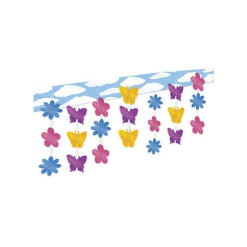 Butterfly And Flower Ceiling Decor - Pack of 6