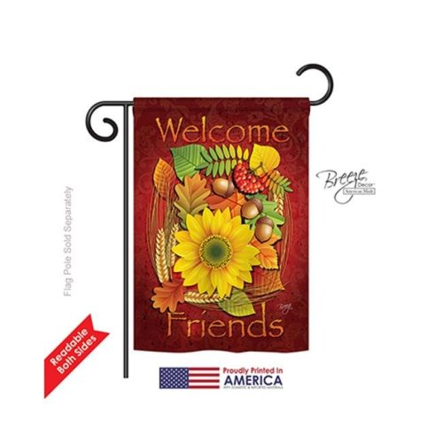 Breeze Decor 63040 Harvest & Autumn Welcome Friends Fall 2-Sided Impression Garden Flag - 13 x 18.5 in.