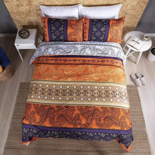 Adam Home Reversible Duvet Cover Set (King, Moroccan Amberglow) - Ultra Soft Printed Quilt Cover Set - 1 Duvet Cover & 2 Pillow Cases - Luxurious Brus