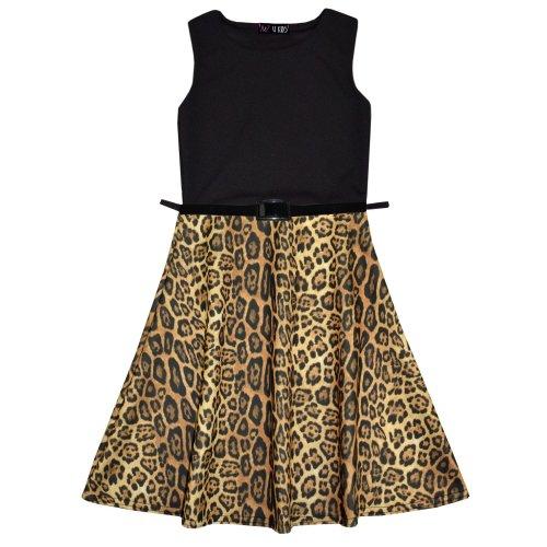 Girls Skater Dress Kids Leopard Contrast Panel Summer Party Dresses New Age 7-13