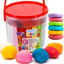 The Magic Toy Shop 1.5 Kg Giant Play Dough Set in Bucket Craft Modelling Doh Clay, 30 Piece