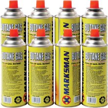8 X BUTANE GAS CANISTERS BOTTLE CAMPING PORTABLE HEATER COOKER STOVES