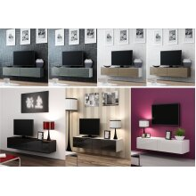 High Gloss TV Stand Entertainment Cabinet - Floating Wall Mounted TV Unit - 140cm
