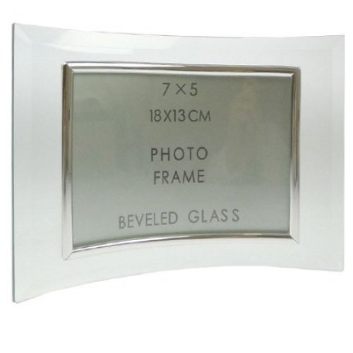 Curved Bevelled Glass Silver 7x5 Photo Frame Horizontal