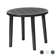 Round Garden Table Resol Tossa Plastic Outdoor Bistro Outside Dining 86cm Grey