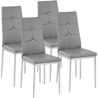 4 dining chairs with rhinestones grey