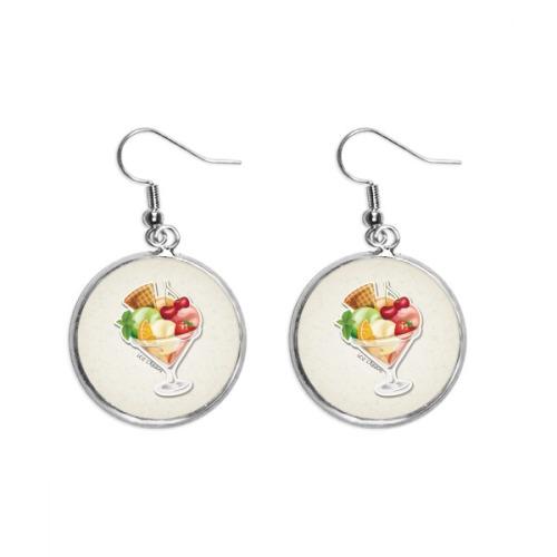 Cherry Orange Strawberry Fruit Sweet Ice Cream Ear Dangle Silver Drop Earring Jewelry Woman