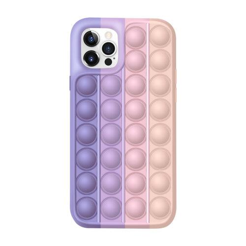 (Purple , iphone 12 pro max) Pop Fidget Push Bubble Toys Phone Cover Case For iPhone