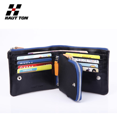 "Hautton Black Sports Leather Wallet 4.5"" Pull Out Coin Section"