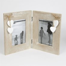 RUSTIC WOODEN DOUBLE PHOTO FRAME 6X4 WHITE HEARTS AND STAND CHIC & SHABBY