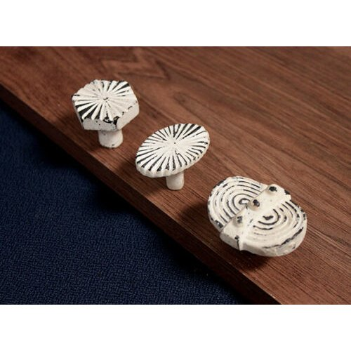 White Cast Iron Cupboard Knob Chest Drawer Ribbed Handle Cabinet Kitchen Pull
