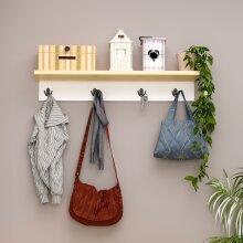P&W Wooden Coat Rack with Shelf Storage White Unit for Hallway