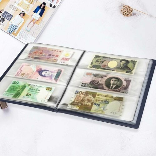 60 Pockets Paper Money Album Collection Banknote Stamps Soft Leather