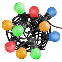 WeRChristmas Globe Festoon Big Bulb LED Light String with 7.6 m Cable - Multi-Colour, Set of 10