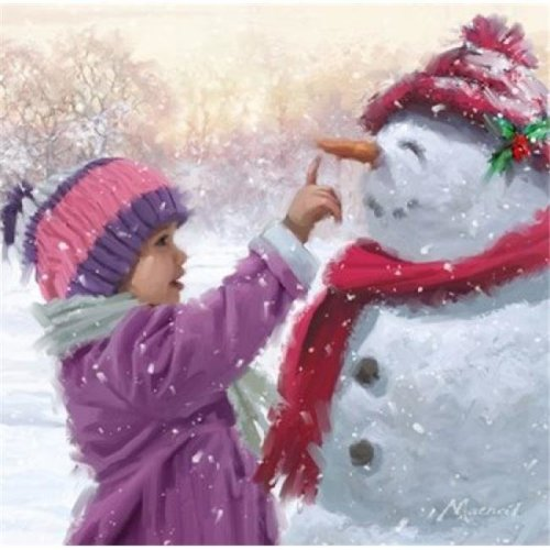 Girl with Snowman 1 Poster Print by the Macneil Studio - 12 x 12 in.