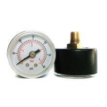 Pressure Gauge 40mm Dial 0/60 PSI & 0/4 Bar 1/8 BSPT Back Connection