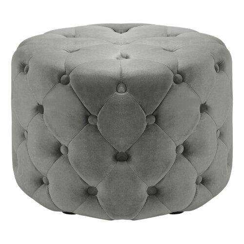 (Grey, 60*60*38CM) Deep Buttoned Velvet Round Ottoman Stool Seat Multi-Functional Footstool Chair