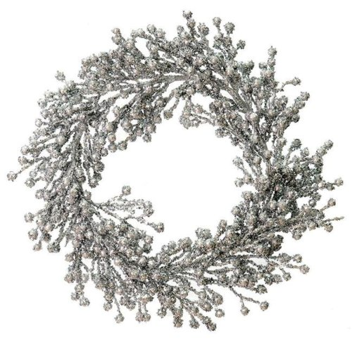 Vickerman L180707 22 in. Silver Glitter Berry Wreath Outdoor - Pack of 6