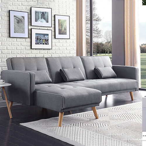 Modern L Shape Recliner Sofa Bed New Fabric Padded Sofabed Suite UK